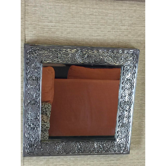 Square Mexican Punched Tin Mirror - Image 3 of 5
