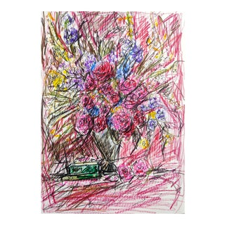 Color Pencil Sketch of Flowers on A4 Hahnemühle Paper by Shirin Godhrawala ,2020 For Sale