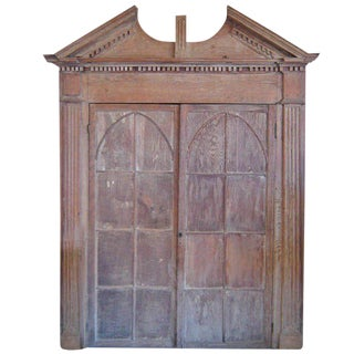 Early Gothic Oak Corner Cupboard For Sale