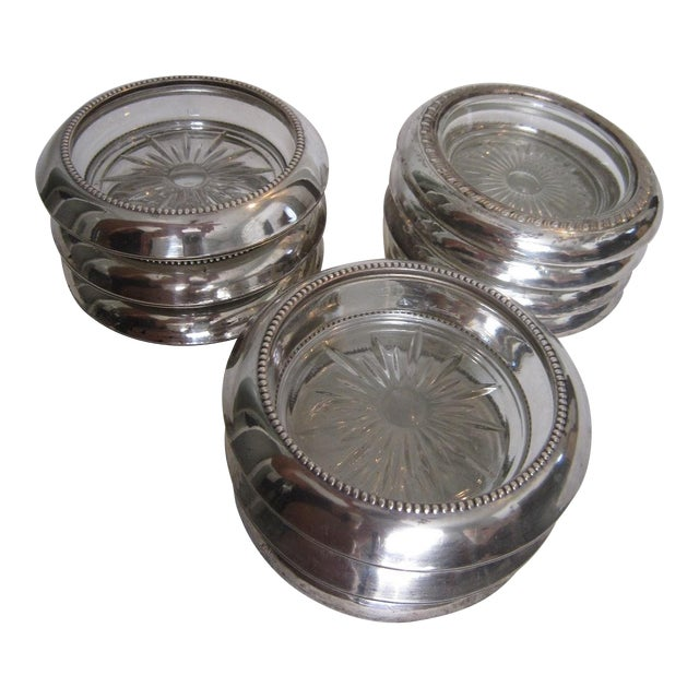 50's Silver Wine Coasters - Set of 9 - Image 1 of 4