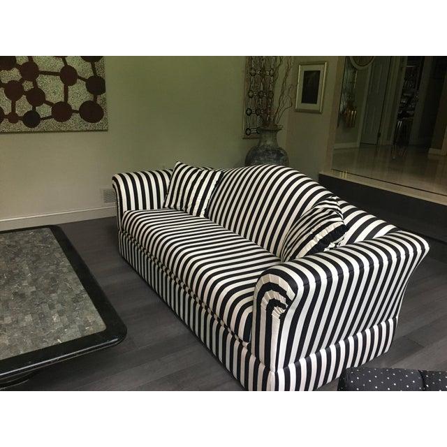 Precedent 1990 Modern Black White Striped Sofa Chairish
