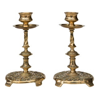 Antique English Solid Brass Candlesticks - a Pair For Sale
