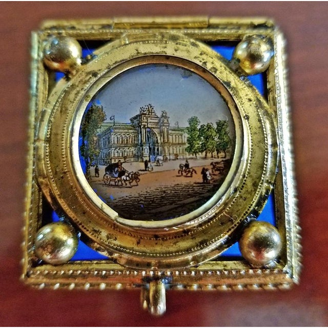 19c Continental Turquoise Glass Box With Miniature of Palace Scene For Sale In Dallas - Image 6 of 8