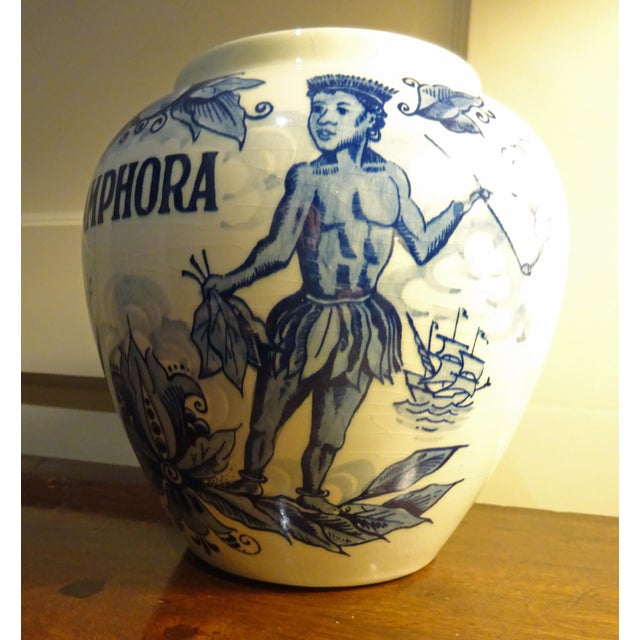 """Figurative Delft Hand Painted """"Amphora"""" Jar For Sale - Image 3 of 5"""