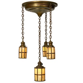 Craftsman Style Slag Glass Shade Pendant Light For Sale