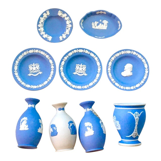 Tabletop Collection of Blue Wedgwood Jasperware - Set of 9 For Sale