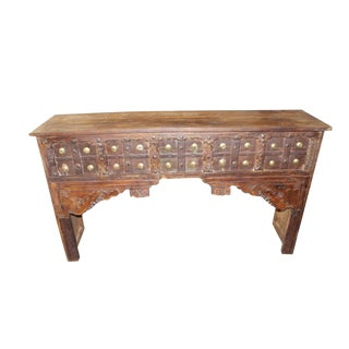 1920s Indian Solid Wood Dark Brown Console Table For Sale
