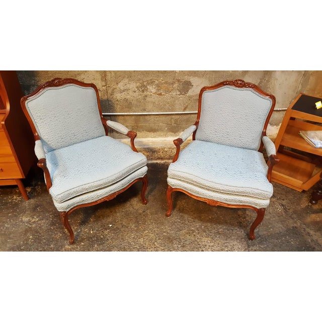 Louis XV Style Bergere Lounge Chairs - Pair - Image 2 of 6