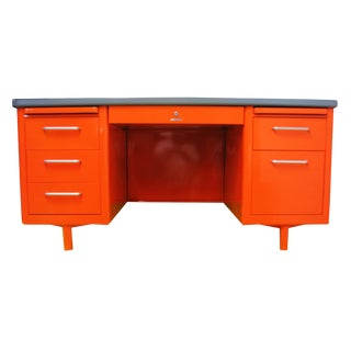 Vintage Mid-Century Modern Orange Steel Tanker Desk For Sale