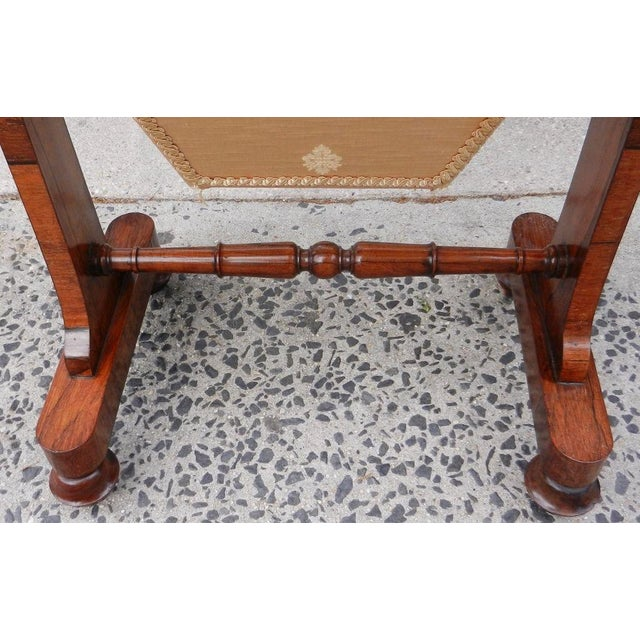 Brown 19th Century Antique English Rosewood Regency Basket Sewing Table For Sale - Image 8 of 11
