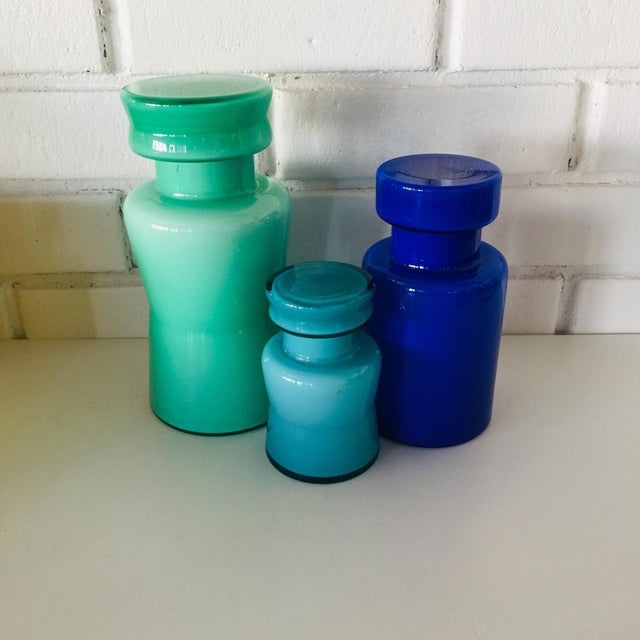 Glass Rainbow Empoli Cased Glass Jars - Set of 7 For Sale - Image 7 of 11