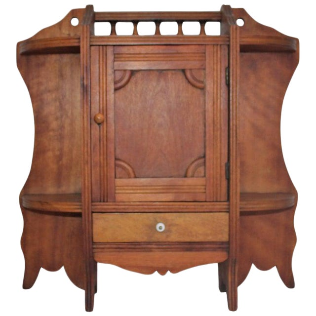 19th Century Pine Hanging Medicine Cabinet With One Drawer For Sale