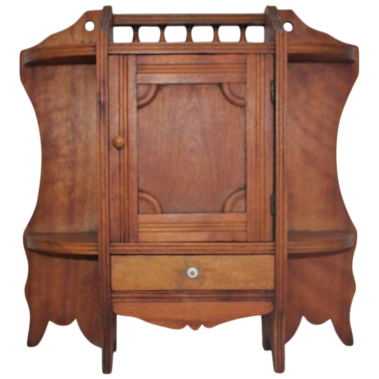19th Century Pine Hanging Medicine Cabinet With One Drawer