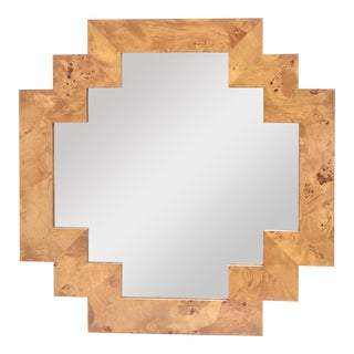 Vintage Italian Burled Wood Geometric Mirror For Sale