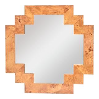 Vintage Italian Burled Wood Geometric Mirror