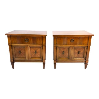 """Mid Century Drexel """"Lorenzo"""" Walnut Side / End Tables—a Pair For Sale"""