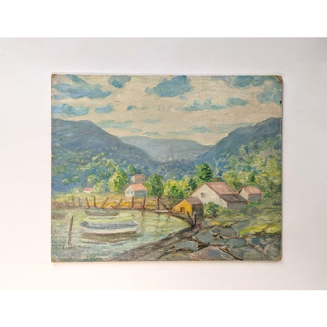 Vintage Oil Landscape Painting Signed by Artist Louise M. Kemp For Sale In New York - Image 6 of 6