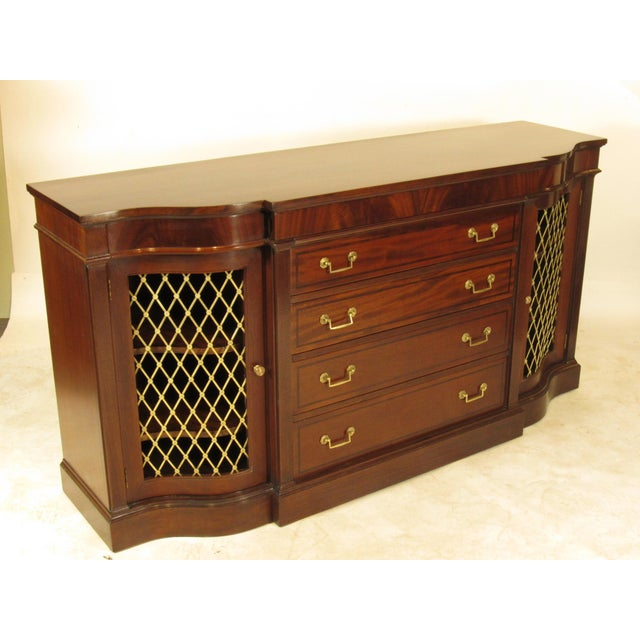 Gold Regency Style Inlaid Mahogany Sideboard For Sale - Image 8 of 9