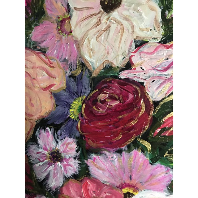Abstract Flowers in Vase Still Life Acrylic Painting For Sale - Image 3 of 5
