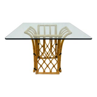 Rattan & Glass Table For Sale