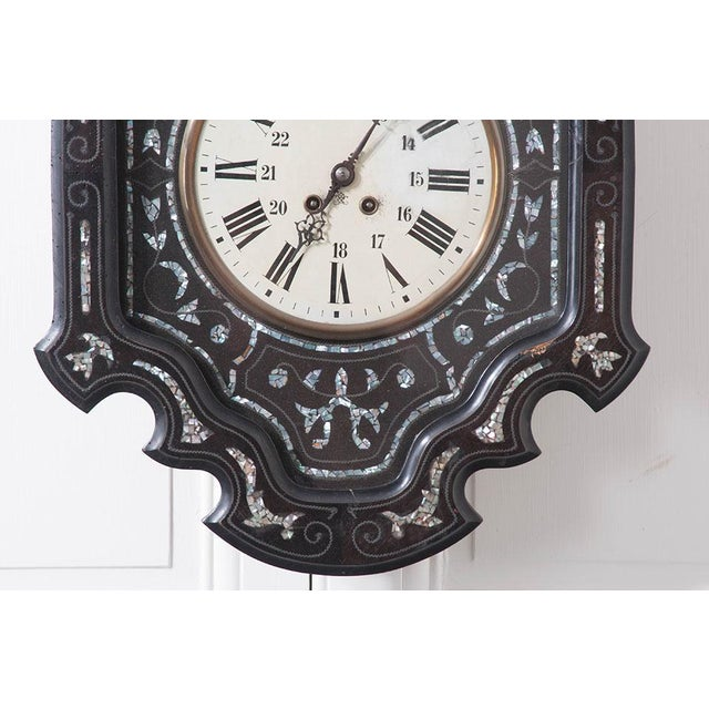 French French 19th Century Napoleon III Ebony Wall Clock For Sale - Image 3 of 7