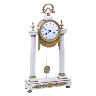 19th Century Louis XVI Style French Marble Mantel Clock For Sale