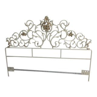 French Provincial White and Gold Iron Headboard