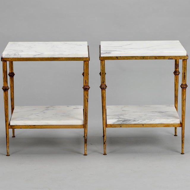Pair of Spanish Gilt Metal and White Marble Side Tables - Image 2 of 11