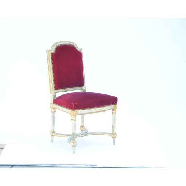 Vintage Crimson Velvet Chairs in the Style of Maison Jansen- Set of 5 For Sale - Image 11 of 12