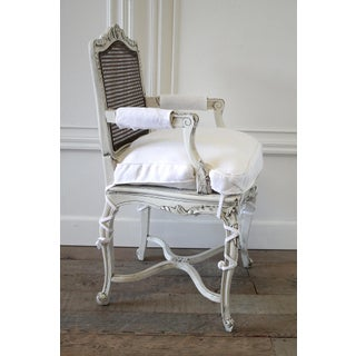 19th Century Country French Cane Back Chair With Linen Cushion Preview