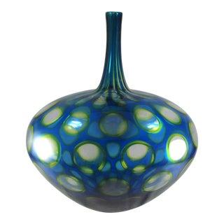 2007 Sam Stang Augusta Glass Studio Hand Blown Art Glass Blue Green Vase For Sale