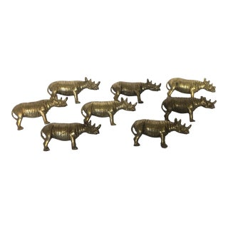 Solid Brass Rhinoceros Napkin Rings - Set of 8 For Sale