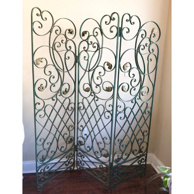 Green Antique Green Wrought Iron Folding Divider For Sale - Image 8 of 12