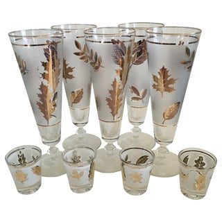 Libbey Starlyte Gold Leaf Glasses - Set of 9 For Sale
