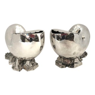 Nautilus Shell Spoon Warmers Silver Plate, for Mappin & Webb, English C.1880 A-Pair For Sale
