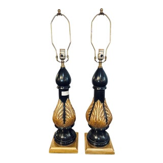 Hollywood Regency Table Lamps Ebony and Gilt Decorated , Manner Jansen - a Pair For Sale