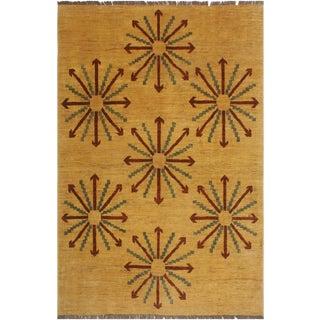 Kafkaz Peshawar Louann Tan/Red Wool Rug - 5'2 X 6'8 For Sale