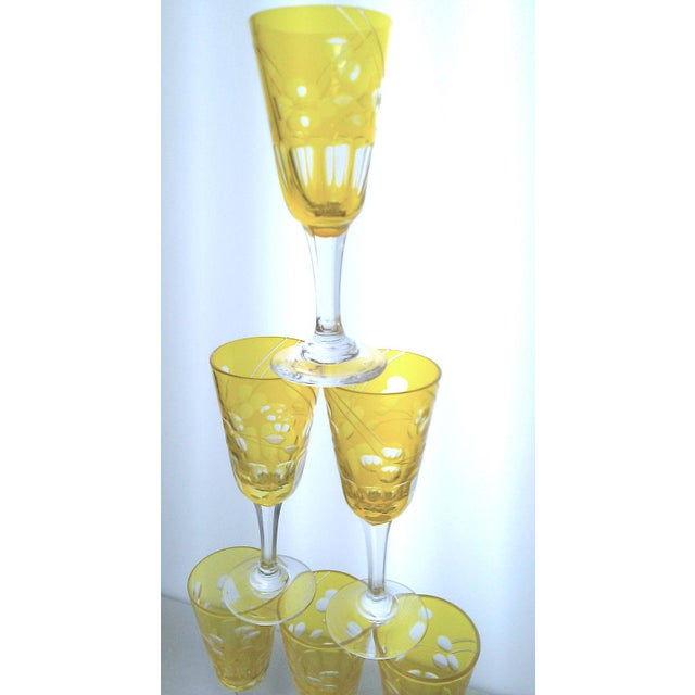 Victorian Amber Cut to Clear Sherry Stemware - Set of 6 For Sale In San Francisco - Image 6 of 7
