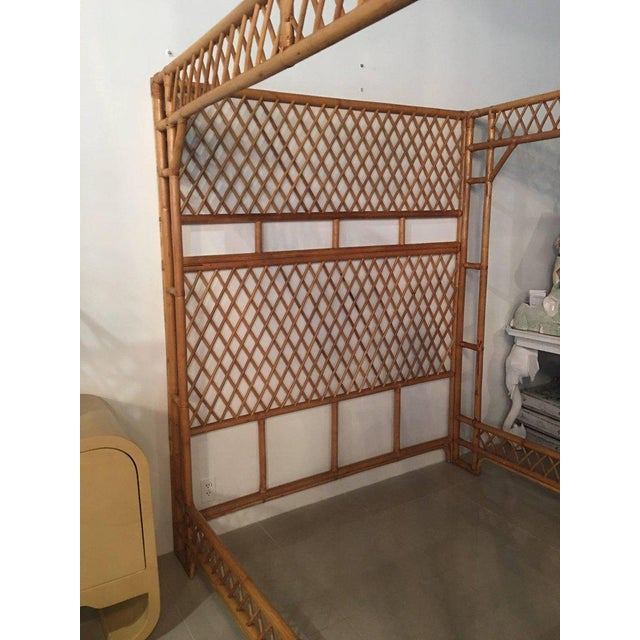 Asian Rattan Bamboo Chinese Chippendale Queen Canopy Bed For Sale - Image 3 of 12