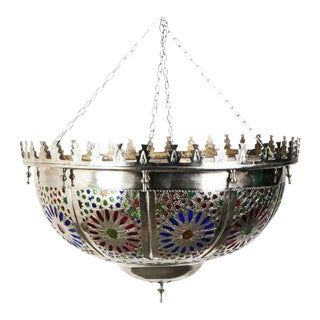 Shabby Chic Silver Moroccan Multi-Color Glass Chandelier For Sale