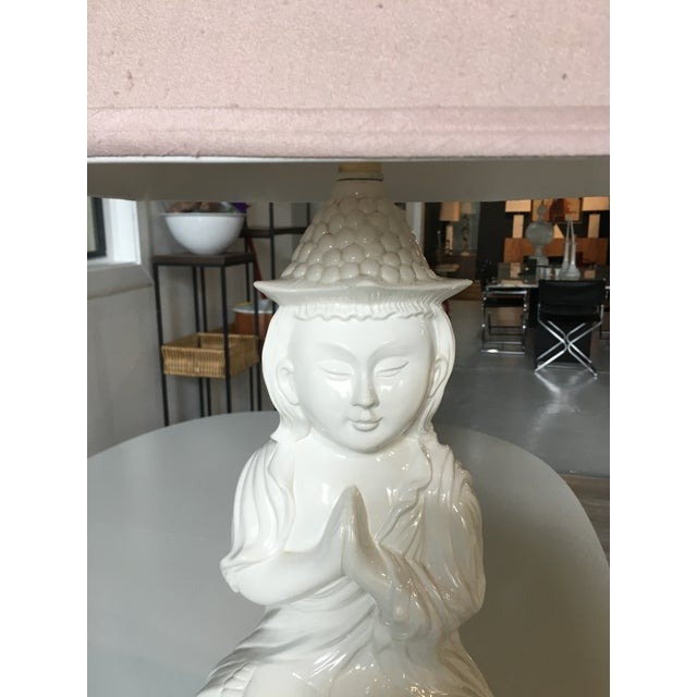 Mid-Century Modern White Mid-Century Ceramic Happy Buddha Lamp For Sale - Image 3 of 13