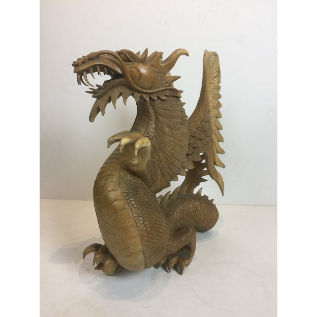 Rare Magnificent Vintage-Carved Wooden Dragon Figurine For Sale - Image 13 of 13