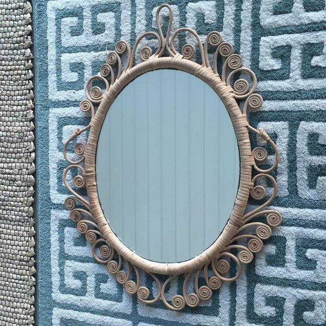 Vintage Rattan Peacock Coiled Oval Mirror - Image 5 of 11