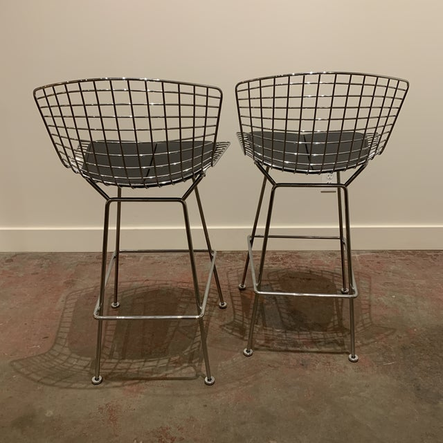 Modern Chrome Bertoia Barstools by Knoll With Black Leather Seat Cushions - a Pair For Sale - Image 3 of 6