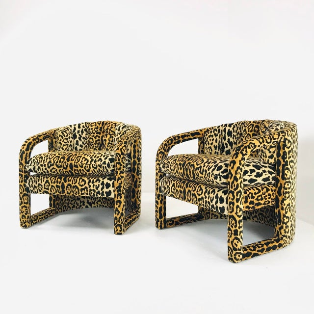 Pair of Custom Barrel-Back Armchairs in Leopard Velvet For Sale In Dallas - Image 6 of 12
