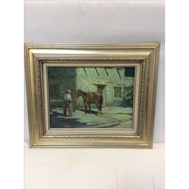 """Country """"Cowboy Bringing Flowers"""" Vintage Oil Painting For Sale - Image 3 of 11"""