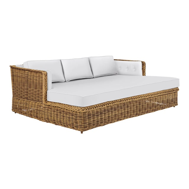 Wicker Works Daybed Lounge in Natural For Sale