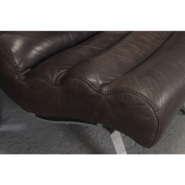 Brown Leather and Steel Lounge Chair in the Style of Arne Norell For Sale - Image 8 of 10
