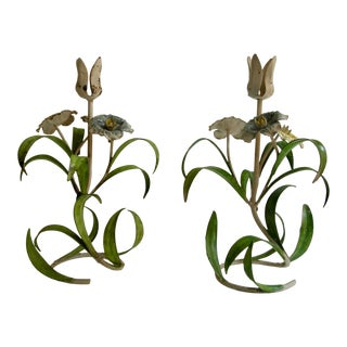 Vintage Tole Floral Candle Holders- a Pair