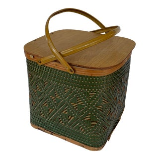 Mid 20th Century Vintage Hawkeye Woven Picnic Basket For Sale
